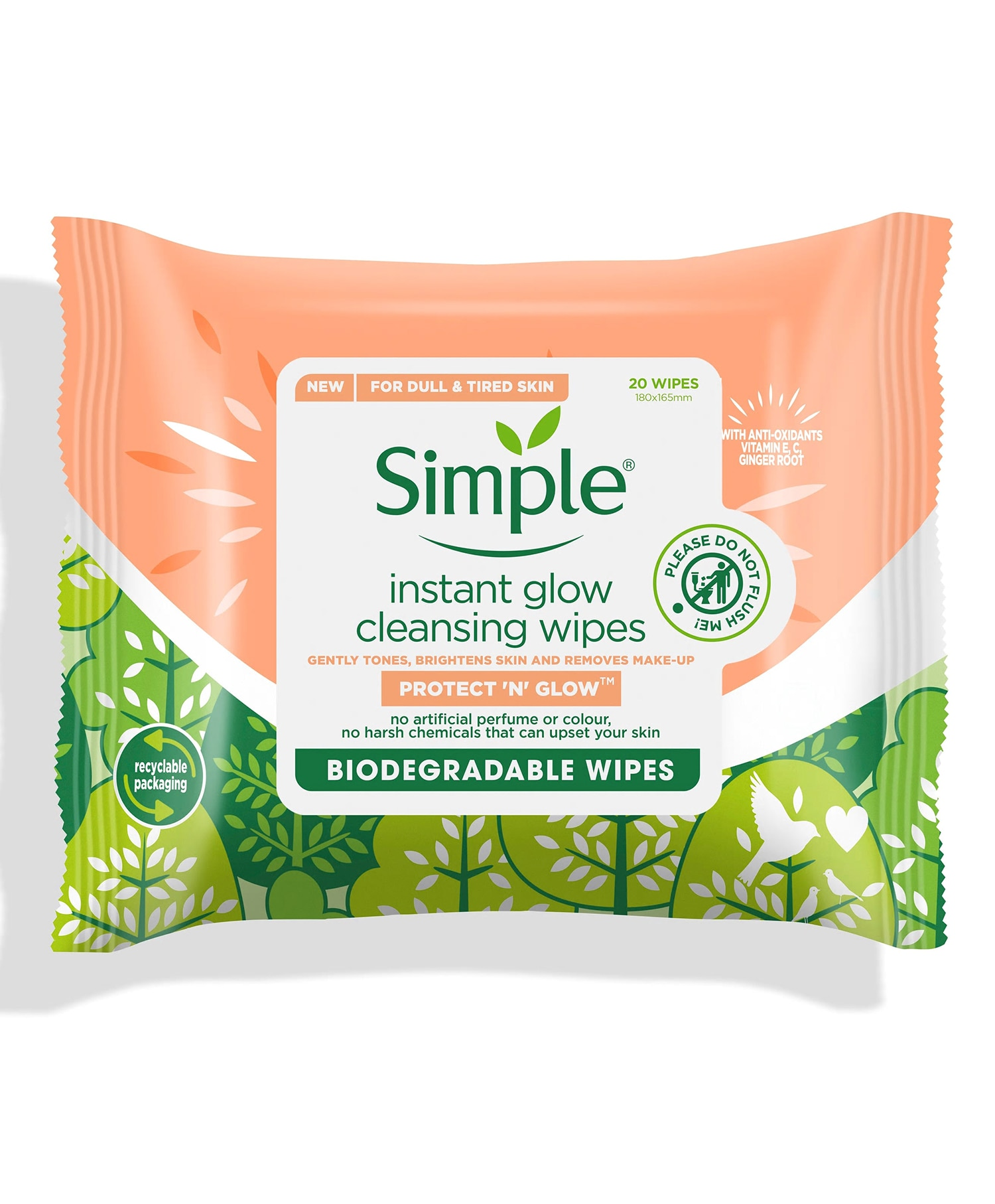 Simple Instant Glow Bio Wipes